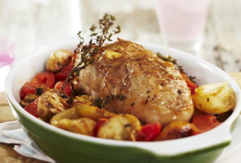 Roti de veau au thym champignons et pommes de terre confites 1